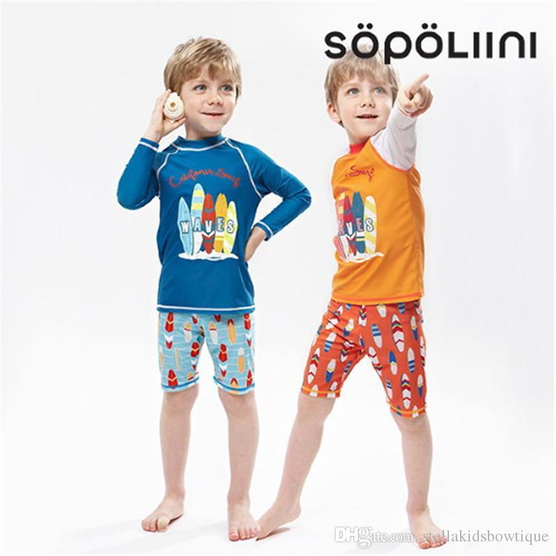 d06f0e880774 Traje de baño para niños 2018 nuevo protector solar de manga larga pantalón  de boxeador dividido niño grande chico traje de baño