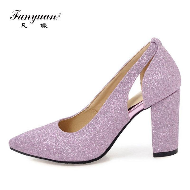 b7e82e59f839 Dress Fanyuan Women High Heels 2019 Sexy Openwork Woman Shoes Pumps Silver Gold  Bling Pointed Toe Glitter Dance Prom Wedding Shoes Stacy Adams Shoes Purple  ...