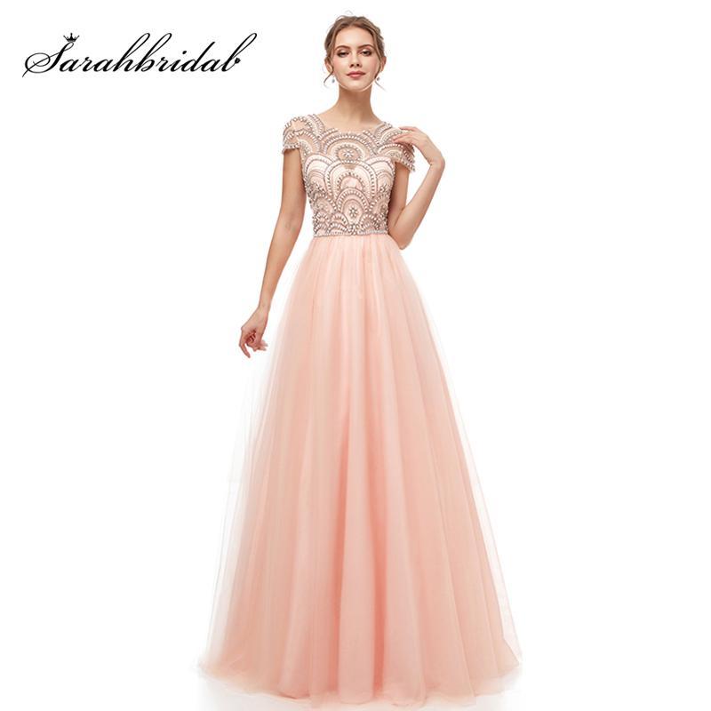 2b0161ca1cd2 Formal Women Ball Gown Evening Dresses 2019 Elegant Blush Tulle Cap ...