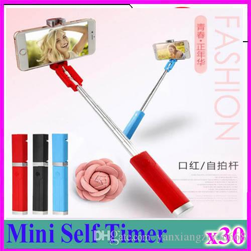 Hot AMS-Lipstick Selfie Stick Mini Self Timer Rod Wire Monopod Telescopic Artifact Self Timer Lever For Mobile Phone Universal 30pcs ZY-ZP-1