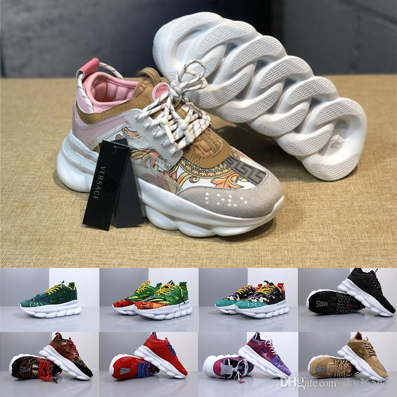 76a4756428 Versace 2019 Newset Chain Reaction Shoes Fashion Luxury Mens Womens Medusa  Link-Embossed Sole Designer Trainers Casual Sports Shoes Sneakers