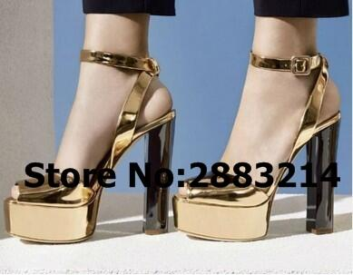 564e7cce55d Sexy Gold Silver Patent Leather High Platform Sandals Chunky Heels Ankle  Wrap Peep Toe High Heels Party Dress Luxury Brand Pumps Oxford Shoes Ladies  Shoes ...