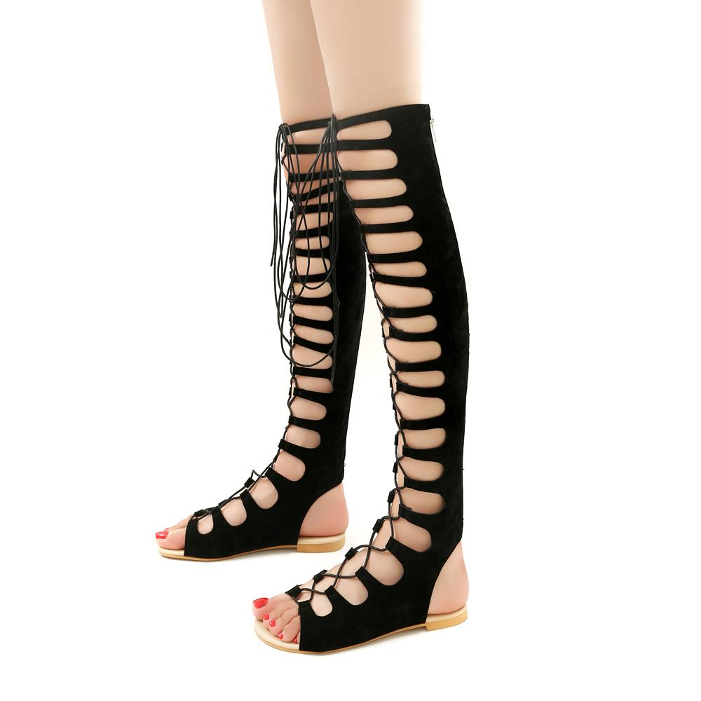 8cb2ec3e048322 2019 Roman Gladiator Bandage Sandals Women Knee High Flat Sandalias Botas  Femininas Women Shoes Girls Summer Hollow Ankle Boot Sandles Wedge Booties  From ...