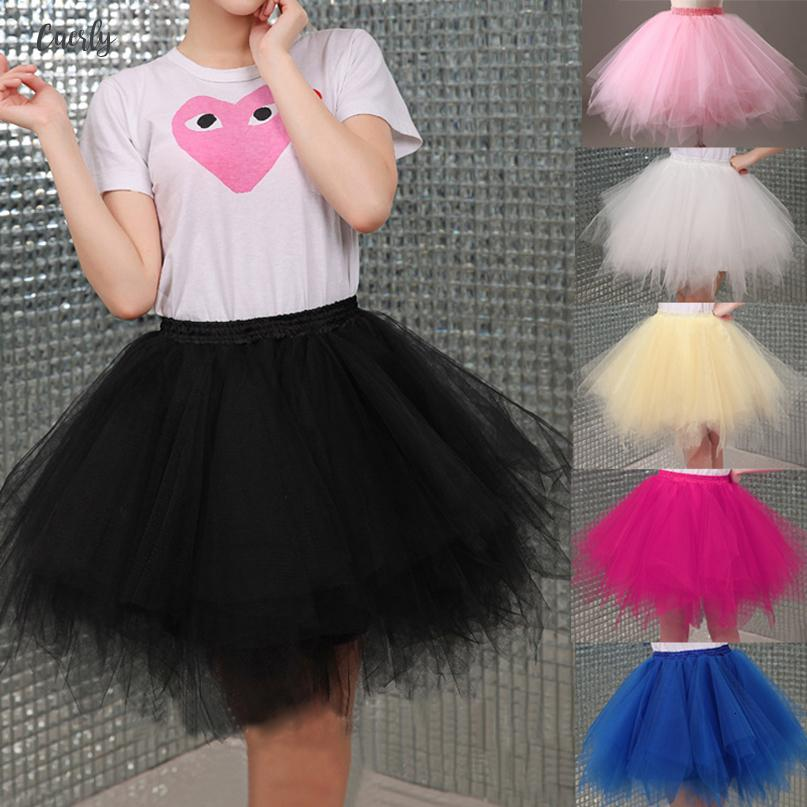 Tulle Skirt 2019 Womens High Quality Elastic Stretchy Tulle Teen Layers Summer Womens Adult Tutu Pleated Ball Gown Skirts Mini
