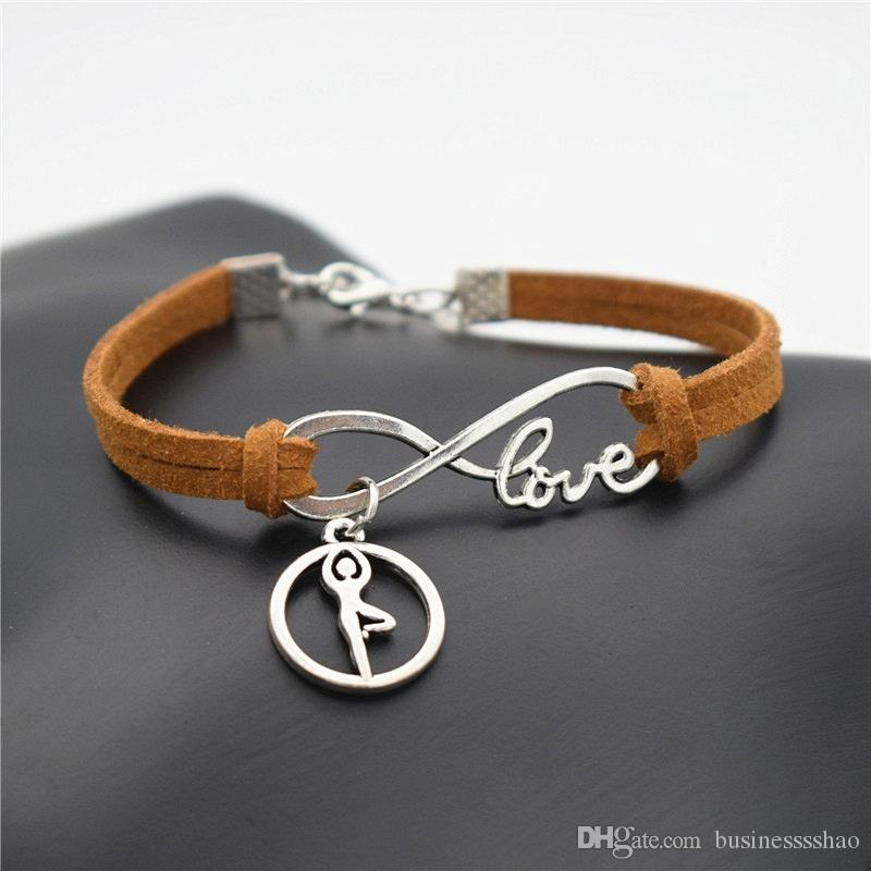 Fashion Vintage Handmade Jewelry Ballet Gymnastics Posture Chakra Yoga Charm Silver Women Love Gifts Infinity Brown Leather Suede Bracelets