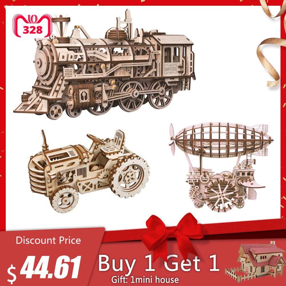 Robotime Mechanical Gears 3d Model Building Kits Puzzle Movement Assembled Wooden Locomotive Steam Stem Toy Gift For Children