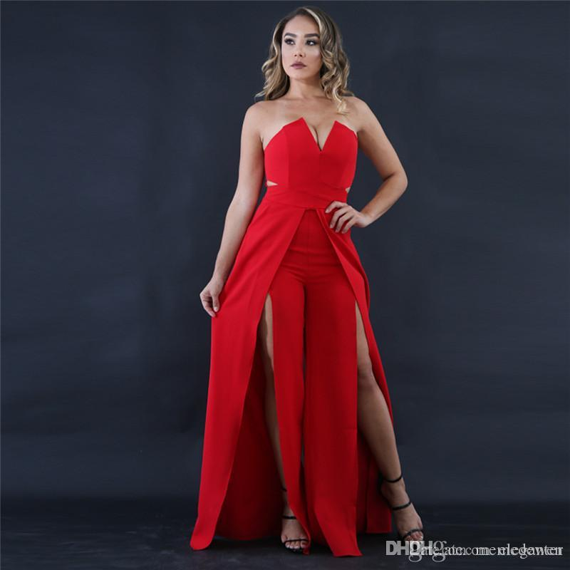 ea78a7549f1f 2019 New Piece Wide Leg Split Jumpsuit Pants Black And White Sling Deep V  Neck Halter Fashion Sexy Sexy Rompers XZ 111 From Eleganter