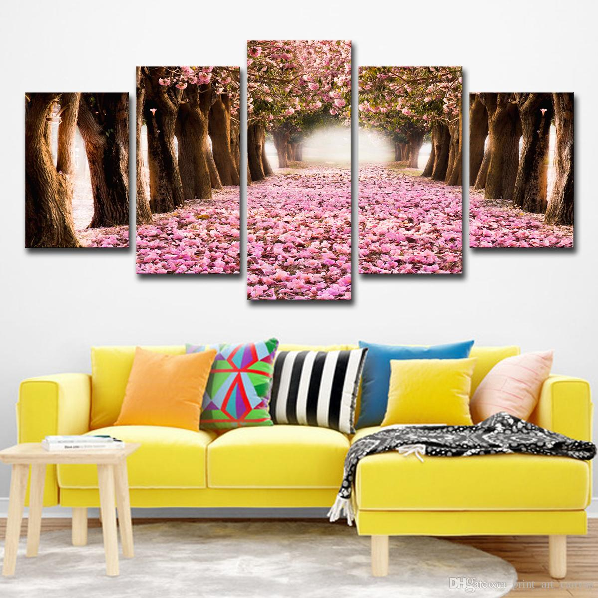 Canvas Pictures Home Decor HD Prints 5 Pieces Cherry Blossoms Paintings Pink Flower Petal Tree Poster Living Room Wall Art