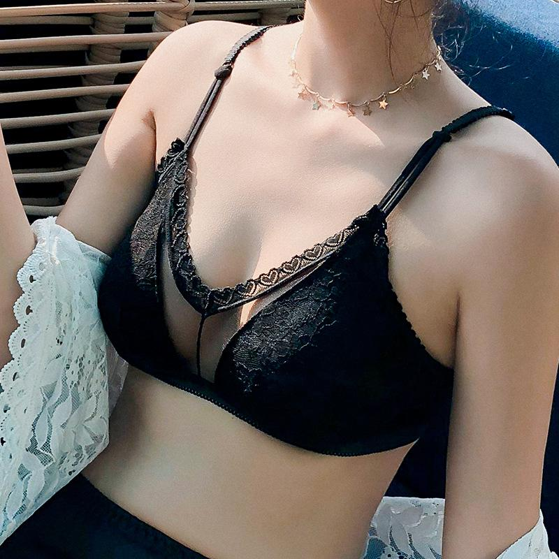 6aebb9a631 2019 Sexy Lace Bras For Women Push Up Bra Seamless Bralette Padded Lingerie  Transparent Cup Brassiere Wire Free Underwear From Ydw158