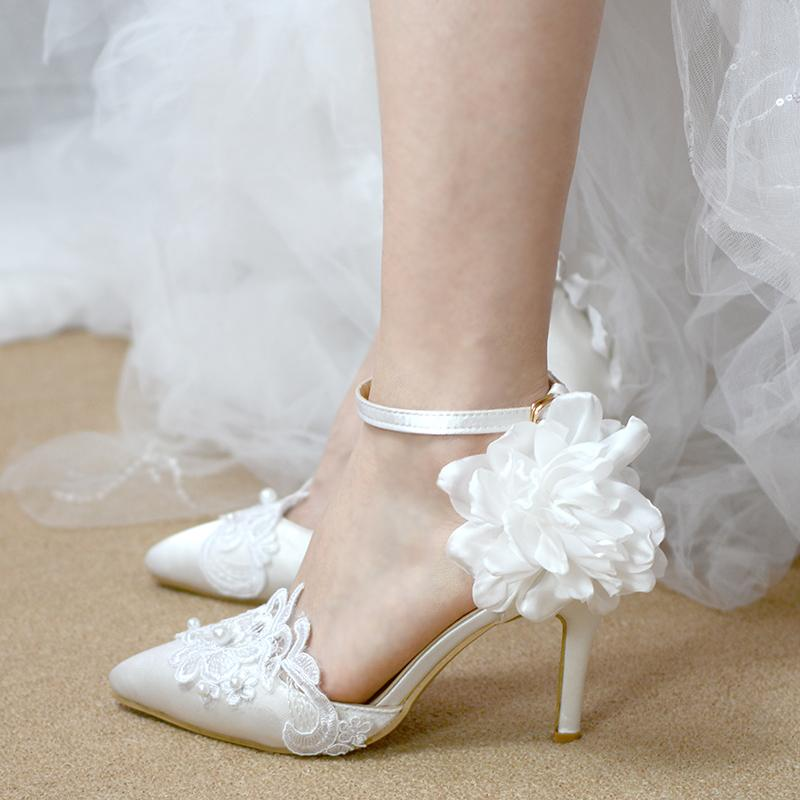 Wedding Shoes Bridesmaid Shoes White Thin Heel Hollow Sandal Wristband  Buckle Lace Pearl Flower Korean Princess Female Mens Loafers Formal Shoes  For Men ... b8f0fa9bae4f