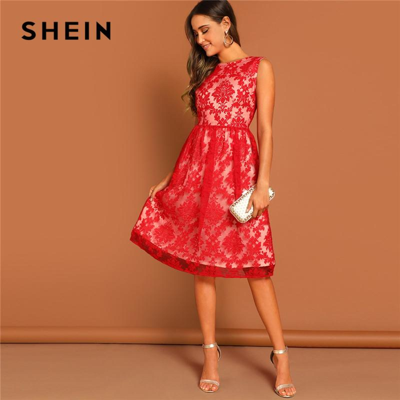 decc73fdcc79 Wholesale Red Floral Mesh Overlay Fit  Amp  Flare Sleeveless Embroidery  Dress Autumn Weekend Casual Elegant Women Shift Solid Dresses Long Dress  Summer ...