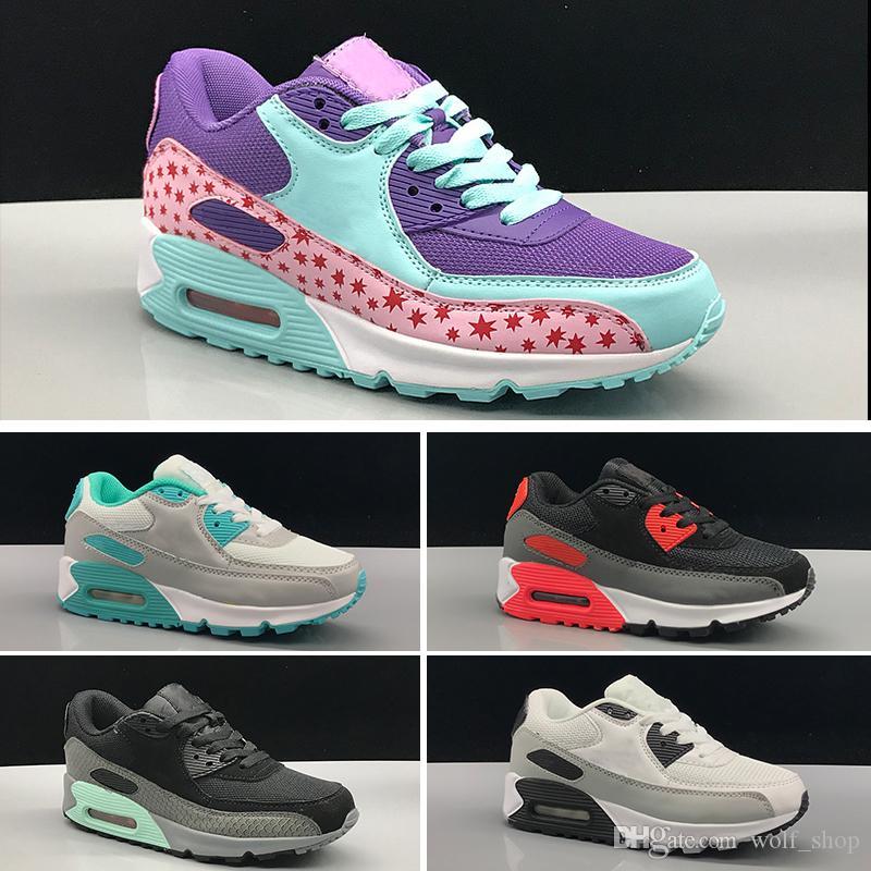 89e75f491a6 Compre Nike Air Max 90 Zapatos Para Niños   039  S Kids Classic 90 Vt Boys  Girls Zapatos Para Correr Negro Rojo Blanco Sports Trainer Superficie De  Colchón ...