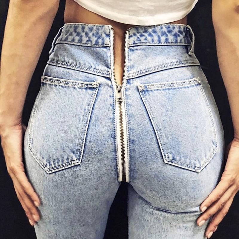Gerade Dropshipping Schwarz Jeans Frau Neue Sexy Back Zipper Denim Hosen Schönheit & Gesundheit Spiegel