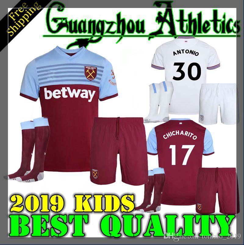 quality design ad7c8 ef18b KIDS KIT 19 20 West Ham soccer jerseys United 2019 2020 home away WILSHERE  Anderson Chicharito LANZINI ARNAUTOVIC Diop CHILD football shirts