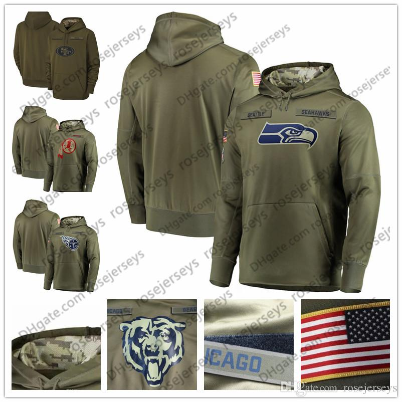 separation shoes 73012 a5db7 San Francisco Seattle 49ers Seahawks Tennessee Washington Titans Redskins  Olive Sweatshirt Salute to Service Pullover Hoodie Men Women Youth