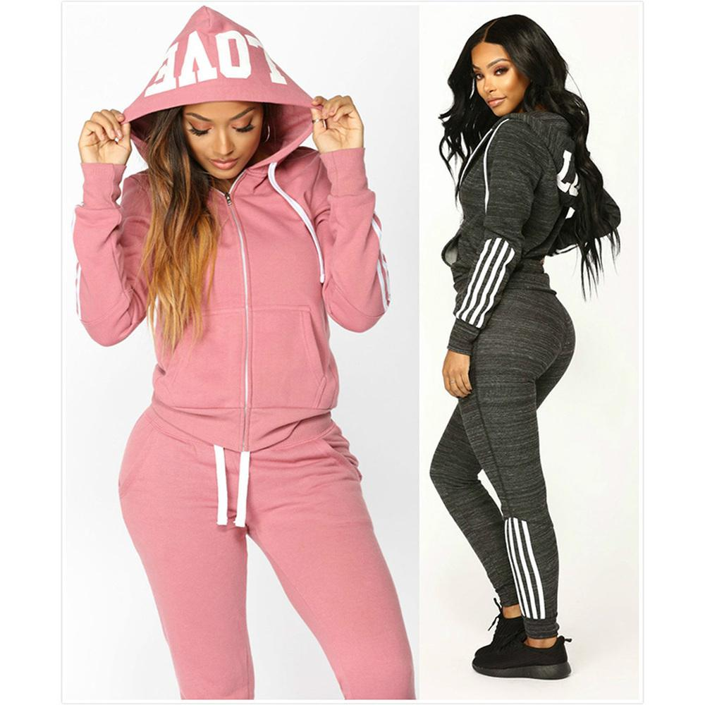 98f4771e1cc Colors Women Pink Tracksuit 2 Units Set Black Gay Sweat Suits Casual Women's  Costume Culture Hooded Sweatshirts And Pants Set