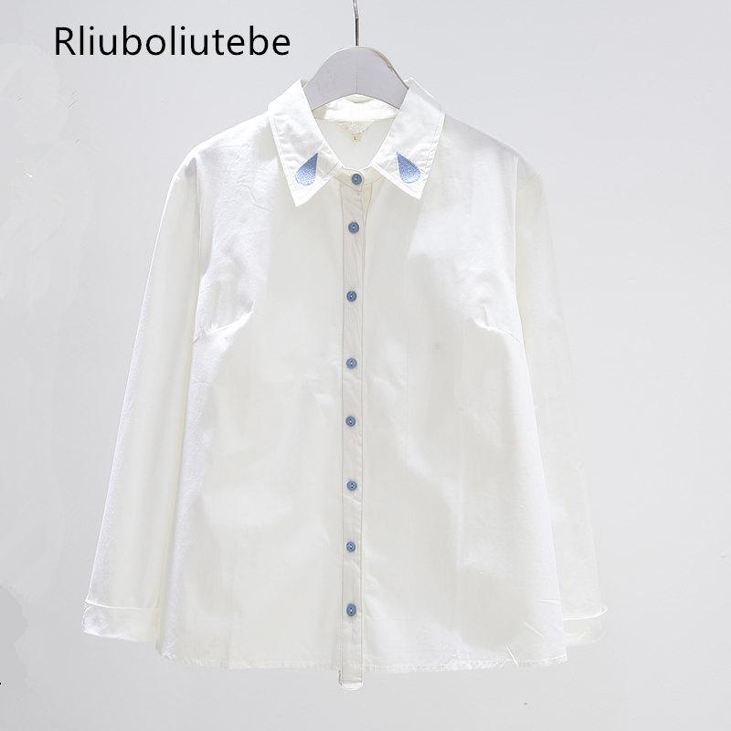 17481fe2e46a Bordado camisa blanca de las mujeres de manga larga con botones abotonar  camisa de cuello vintage nueva blusa de moda dulce blusas mujer