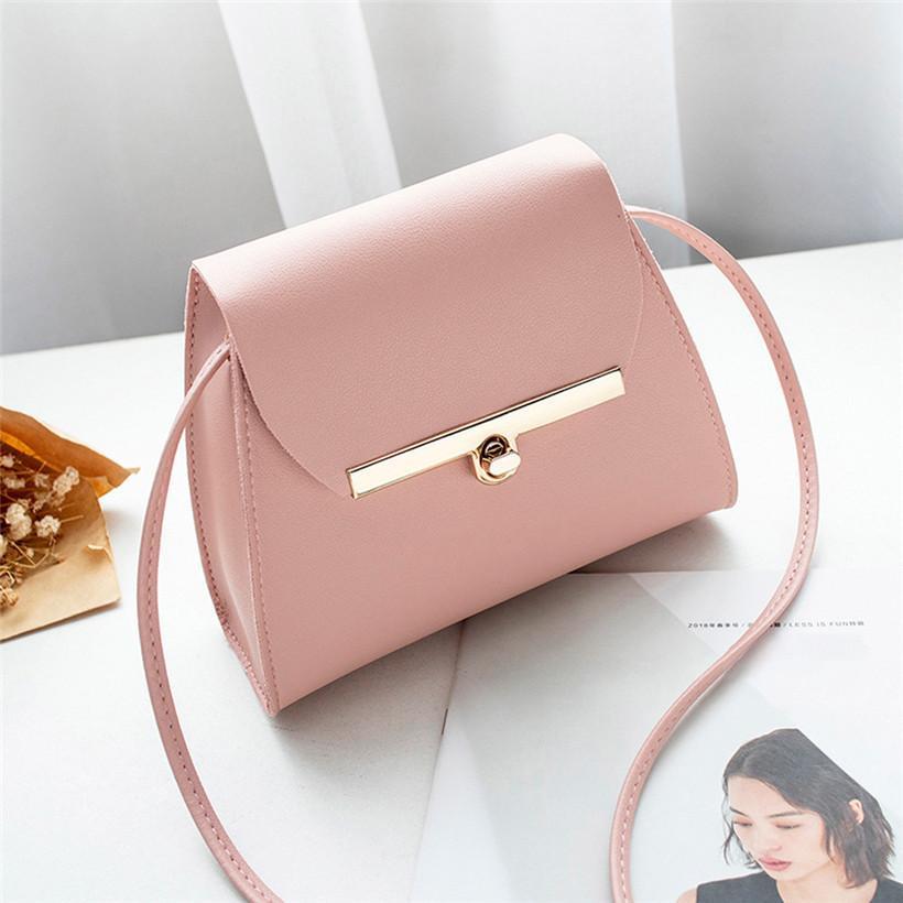 e7c9ae161b96b Designer Simple Flap Shoulder PU Leather Bags Women Girls Pure Color Mini  Messenger Chest Bag Cross Body Handbags Bolsa Feminina Leather Bags For  Women ...