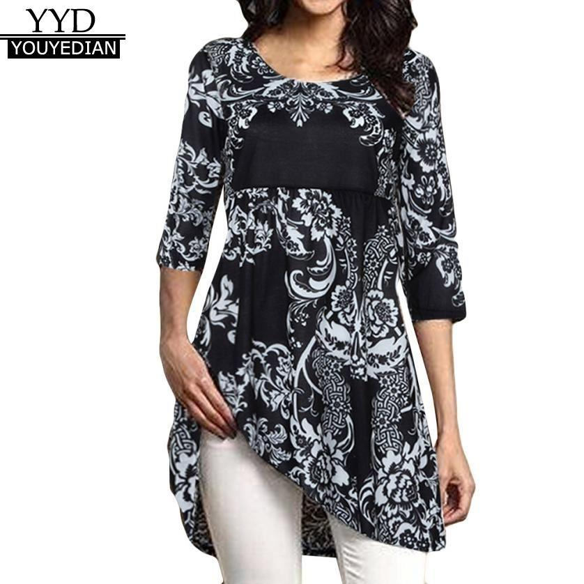 9fe5076f431 Plus Size 5XL Womens Tops And Blouses 2018 Tunic Floral Print Half ...