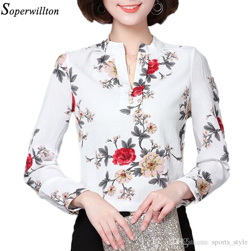e24f33a45 Compre 2018 Moda Blusa Mulheres Camisa De Manga Longa Chiffon Floral Impressão  Escritório Camisa Senhoras Top Feminino Roupas Blusas Plus Size 3XL H2 ...
