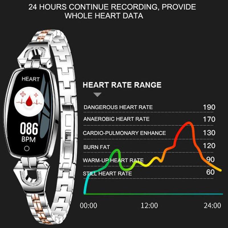 2019 H8 Women Smart Wristband Fitness Bracelet smartwatch Heart Rate  Monitor Blood Pressure Blood Oxygen Smart band Best Gift