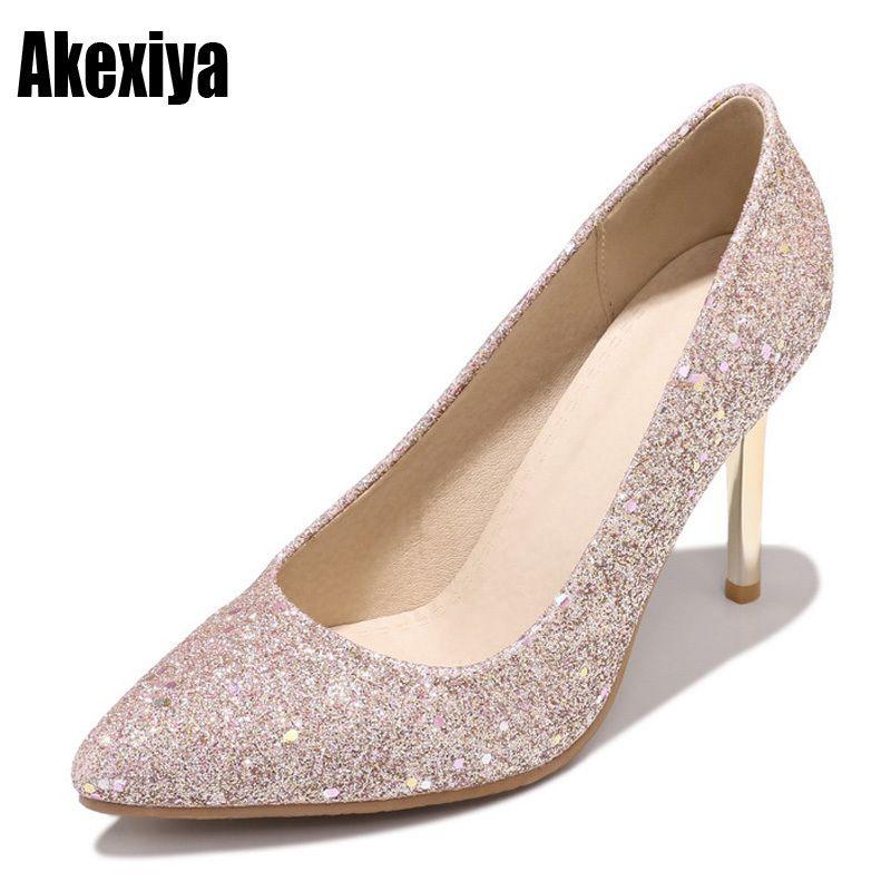 9833e498 Compre Vestido 2019 Nuevas Mujeres Bombas Bling Tacones Altos Mujeres  Bombas Glitter Zapatos De Tacón Alto Mujer Zapatos De Boda Sexy Plata Rosa  Oro Negro ...