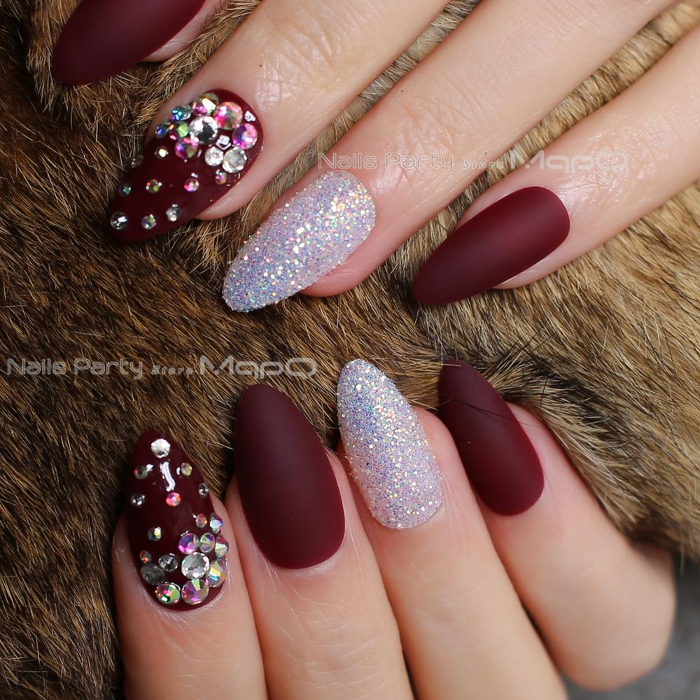 Stiletto Matte Burgundy Glitter False Nails Crystal Full Sets Fake Nails Artistic Shape Diamonds Spread Out Red Press On Fake Nail Nail Decorations From ...