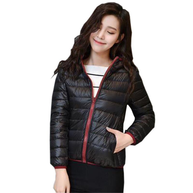Doppelseitige Abnutzung Mantel Licht Dünne Weiße Entendaunen Kurze Jacke Mit Kapuze Dünne Herbst Winter Lady Parka Casual Jacken Re0137