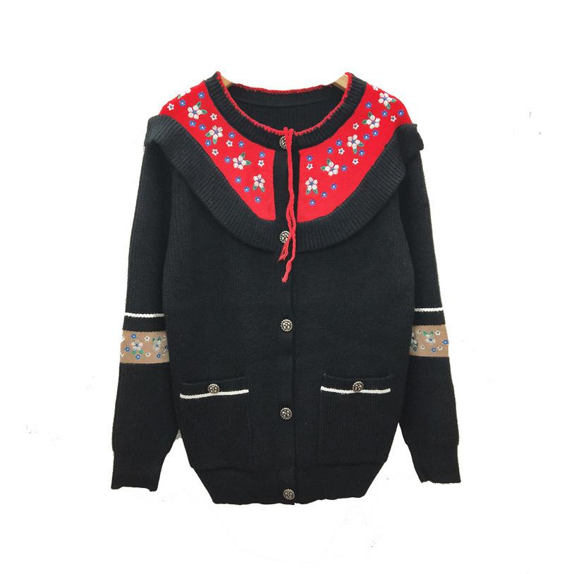 Womens Knitted Clothes Colorblock Collar Embroidered Flower Single-breasted Long Knit Loose Jacket 2019