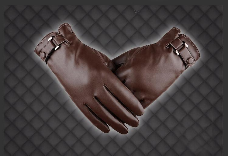 Men's Autumn And Winter PU Washed Leather Simulation Plus Thick Velvet Driving Gloves Motorcycling Cycling Outdoor Sport Warm Gloves H916R