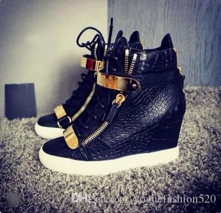 939452d10a3d Brand Designer Gold Tone Hardware Sneakers White Lace Up Velcro Straps  Height Inreasing Wedge Sneakers Round Toe Rubber Sole Leisure Shoes Office  Shoes ...
