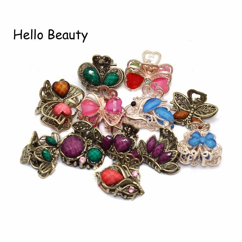claw small 12 PCS Vintage Metal Crystal Flower Butterfly Mini Claws Small Rhinestone Jaw Clip Charm Hair Accessories For Women