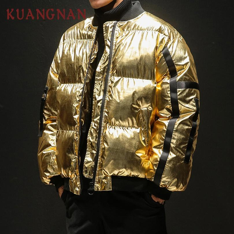 KUANGNAN Japanese Hip Hop Loose Golden Winter Jacket Men Parka Silver Coat Mens Jackets Coats 5XL Parka Men Clothes 2018 New