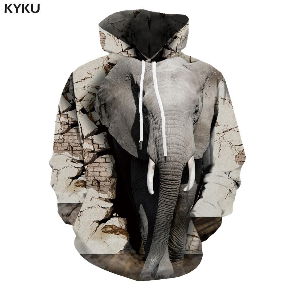 new concept cf16c 6b206 KYKU Marke Elefant Sweatshirts männer Tier Hoodie Druck Abstrakte Hoodes 3d  Vintage Hoody Anime Grau Mit Kapuze Lässig undefined