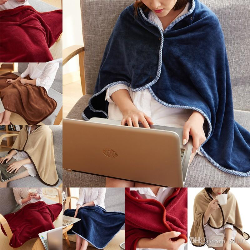 Men Women Fashion Custom Embroidery Sofa Blanket Coral Velvet Fleece Solid Color Button Cloak Home Soft Shawl High Quality 18 9lf hh