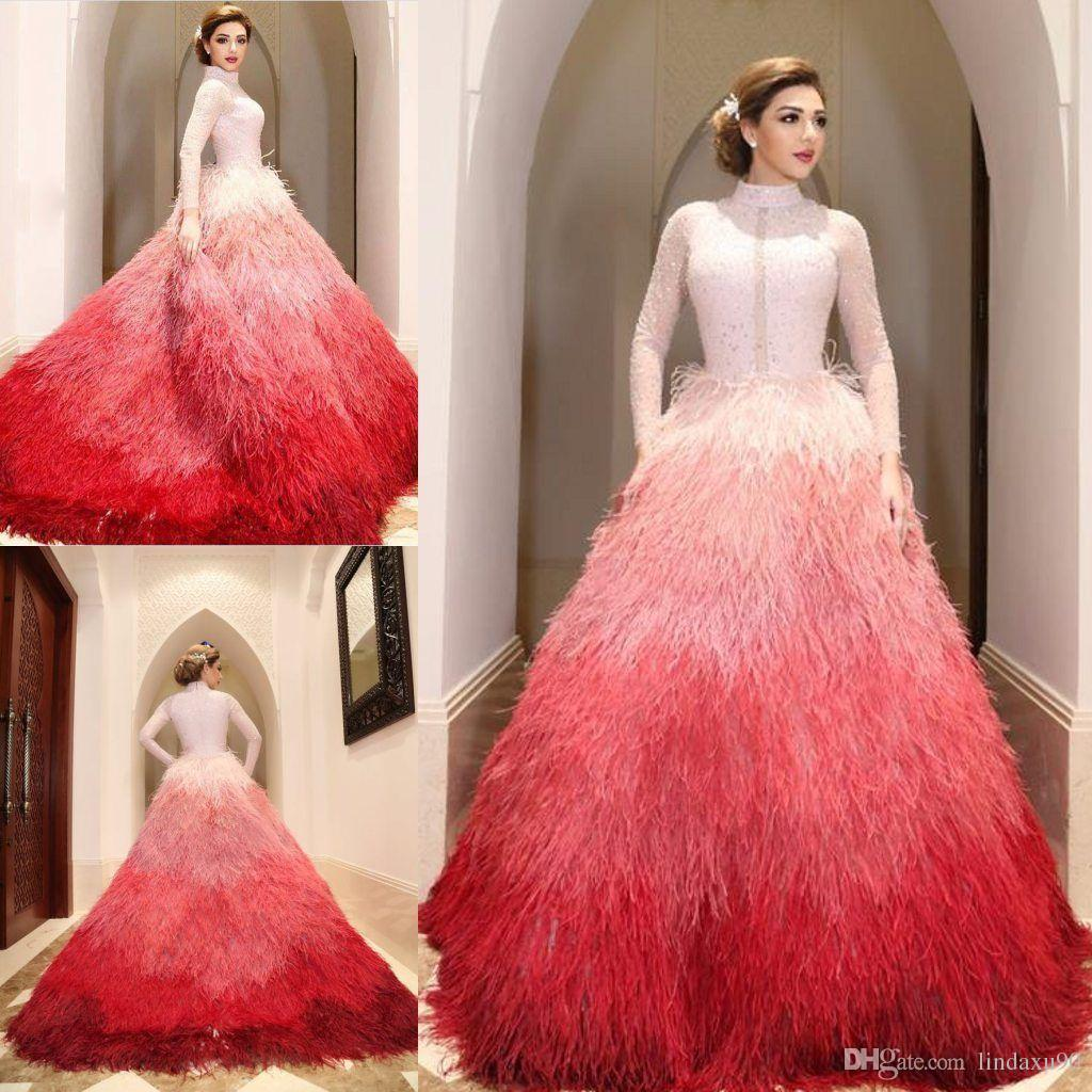 Luxury Ostrich Feather Muslim Prom Dresses Long Sleeve High Neck