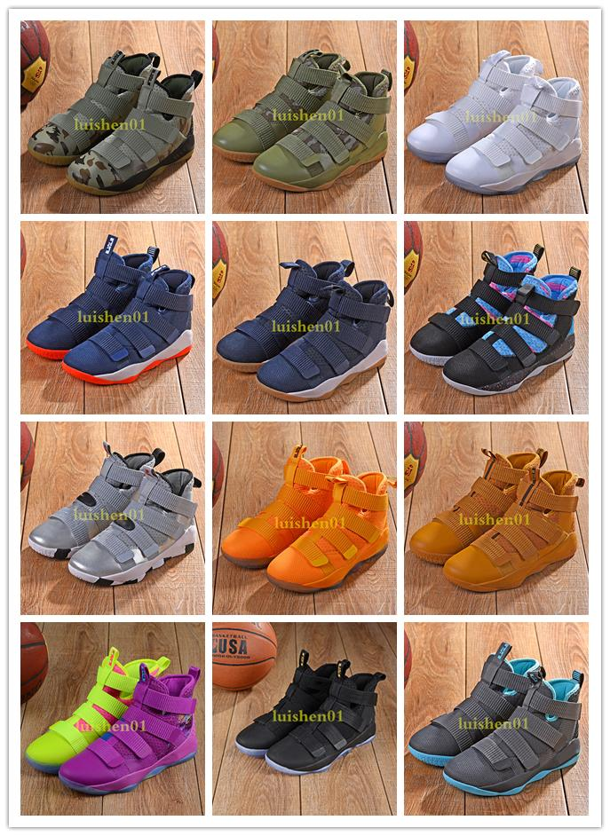 buy online 02a44 74b28 2019 new James Soldier XI 11 Navy Blue men Basketball Shoes LeBron Soldier  XI 11 Black/Red/White A variety of color sports sneakers 7-12 c08