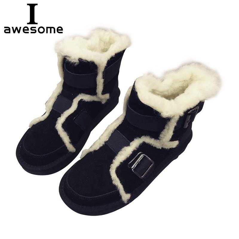 82646dcdf3ae7 Snow Boots 2018 Women Brand Sheepskin Ankle Boots Australian Snow Shoes  Genuine Leather Girls Winter Mujer Botas Femmes Bottes Ladies Shoes Moon  Boots From ...