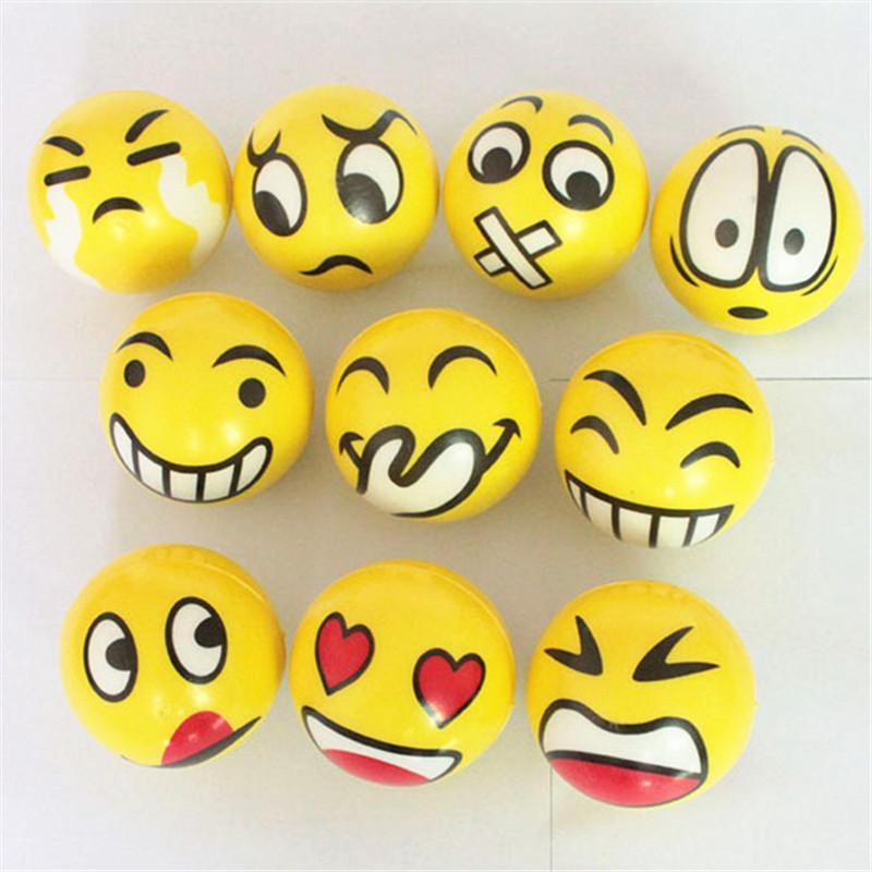 Wholesale- HZFZ 2pcs funny gadgets 6.3cm PU anti stress emoji ball surprise bouncy antistress toy squishy slow rising ball Vent toys