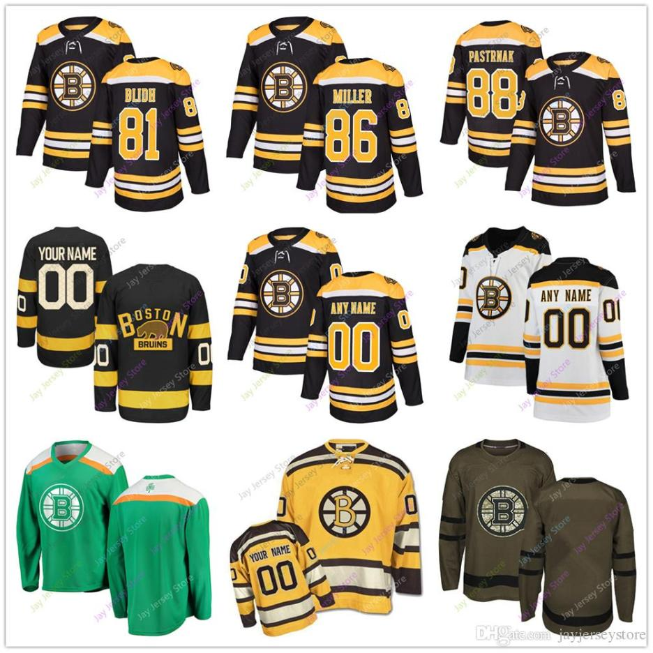 finest selection 796df 39727 81 Anton Blidh 86 Kevan Miller 88 David Pastrnak Jersey 2019 Men Women  Youth Winter Classic Boston Bruins Salute to Service Cheap