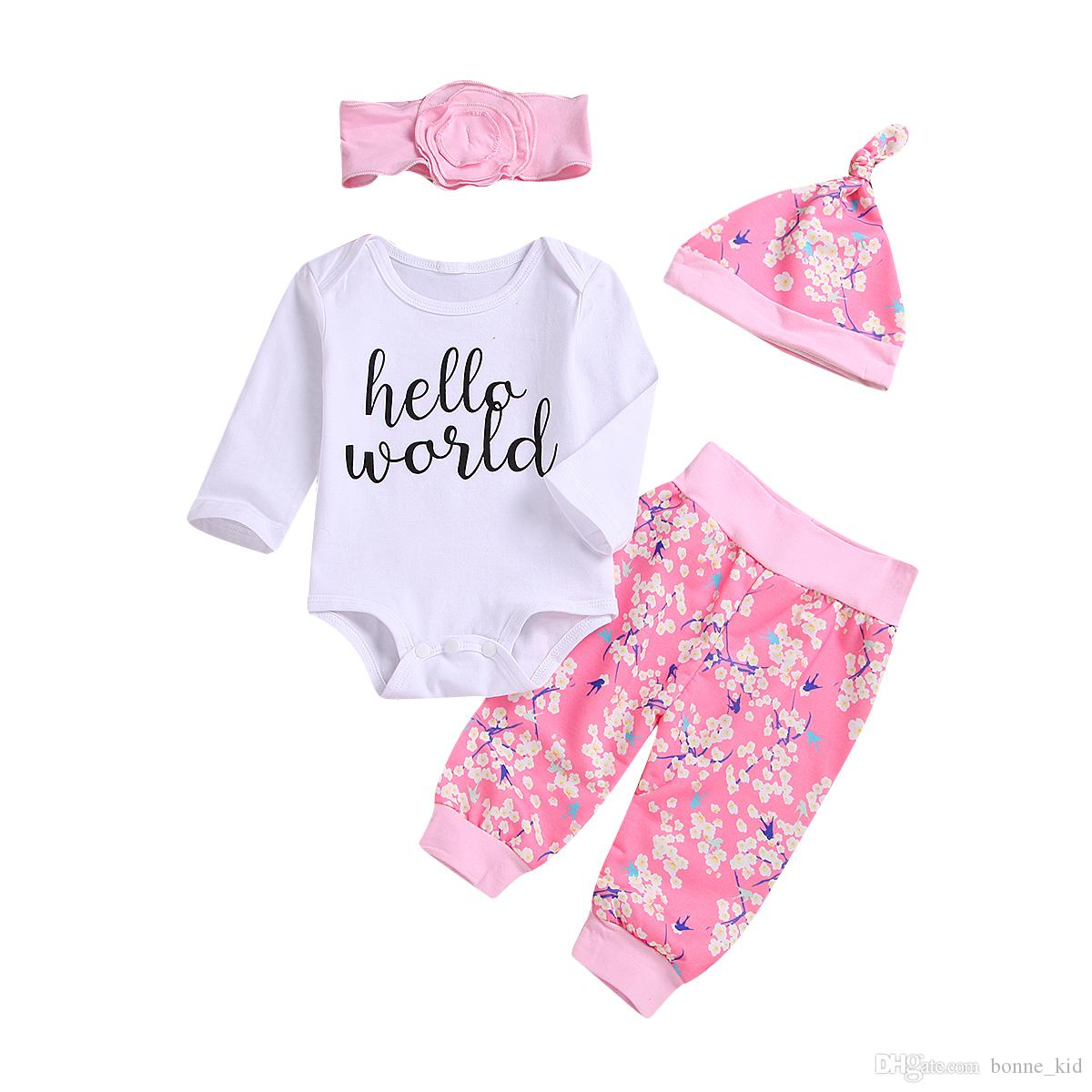 20a14cf88f9 2019 Hello World Baby Girl Flower Clothing Romper+Pants+Headband+Hat Set  Outfit Long Sleeve Pink Kids Clothes Wholesale Boutique 0 24M From  Bonne kid
