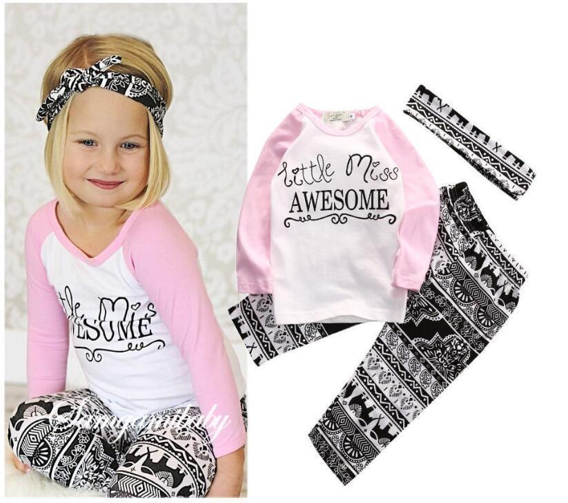 ed12b16d75e6ad Großhandel Kinderkleidung Baby Mädchen Top T Shirt + Hosen Leggings  Stirnband 3 STÜCKE Outfits Kleinkind Kinder Kleidung Set 1 5 T Von  Victorys09