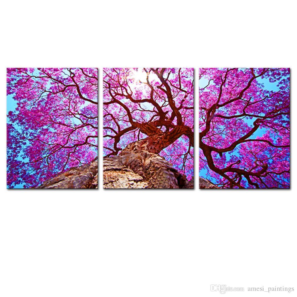 acheter no frame 3 panneaux mur de toile art violet arbre paysage