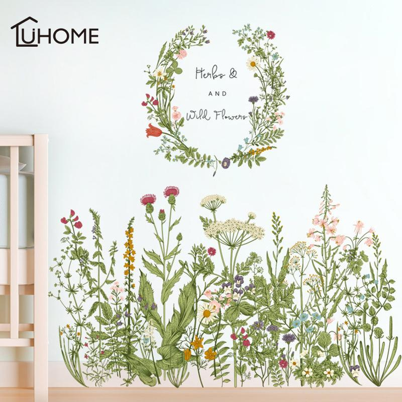 Flower Green Grass Baseboard Wall Stickers Skirting for Balcony Living Room Mural Art Home Decoration PVC Wall Decal