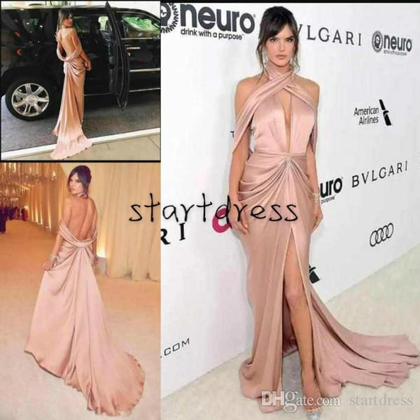 New Fashion Muragn Nude Prom Dresses Halter Sexy Red Carpet Open Back High Split Latest Formal Evening Gowns Best Long vestidos de fiesta