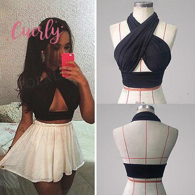 Halter Crop Top Strapy Womens Cross Over Front Cut Out Criss Cross Neck Vest Black S Xl Drop Shipping