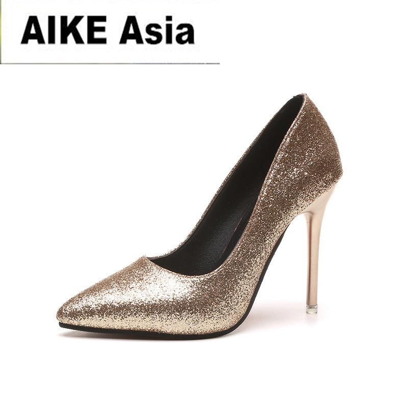 2dc9efa12c Shoes Hot Spring Autumn Women Pumps Sexy Gold Silver High Heels Fashion  Pointed Toe Wedding Party Women D-81