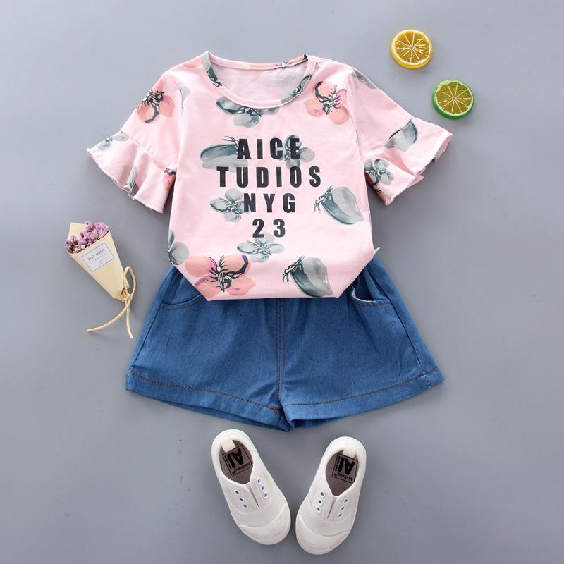 d7a9d0150b1d Baby Clothe 2019 Summer Girl Dress Christmas Printing Denim Shorts ...