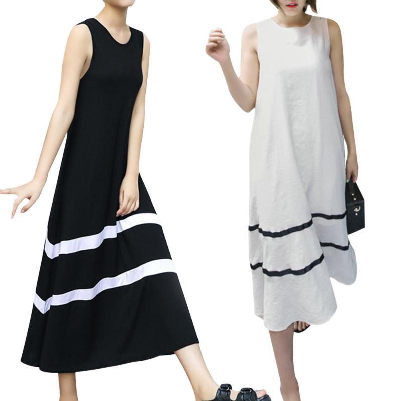 27adb80bddf95 Hot Sale Summer Sleeveless Long Dress Women Stripe O-Neck Loose Clothing  Beachwear Boho Beach Line Dresses