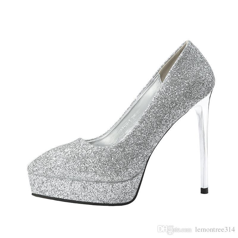 79252e9efcacd Women Sexy Glitter High Heels Lady Platform Pumps Party Wedding Evening  Dress Shoes Bling Stiletto Slip On Shoes Sandals